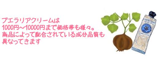 プエラリアクリームは1000円~10000円まで価格帯も様々。商品によって配合されている成分品質も 異なってきます
